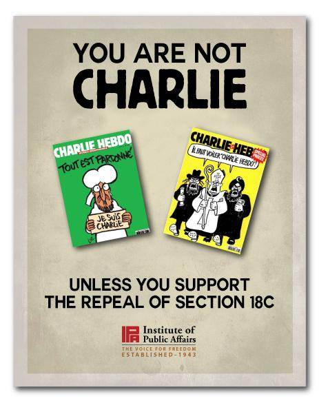 If you tweeted #JeSuisCharlie you should support the repeal of section 18C. http://t.co/Kr29ulFu4i
