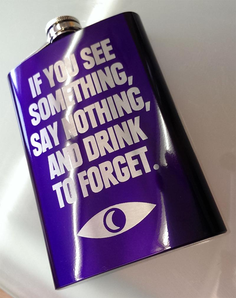 "The Welcome To Night Vale ""See Something"" flask is now available in Portentous Purple! http://t.co/li66LlDNd4 http://t.co/EKgVHi79OG"