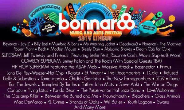 The #bonnaroo2015 lineup is sick. If you do one thing, and one thing only, this year, join me at #bonnaroo! http://t.co/pPultnAkSS
