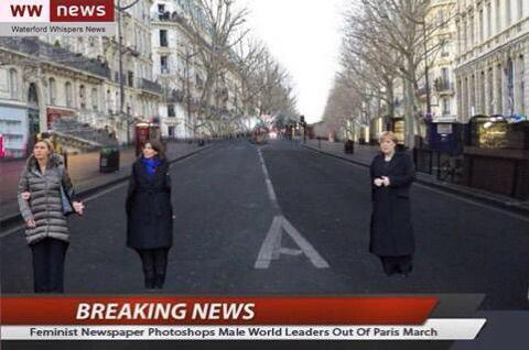 lol Breaking News: Feminist newspaper photoshops male world leaders out of Paris march http://t.co/315bn0CDWd via @MSMarkow