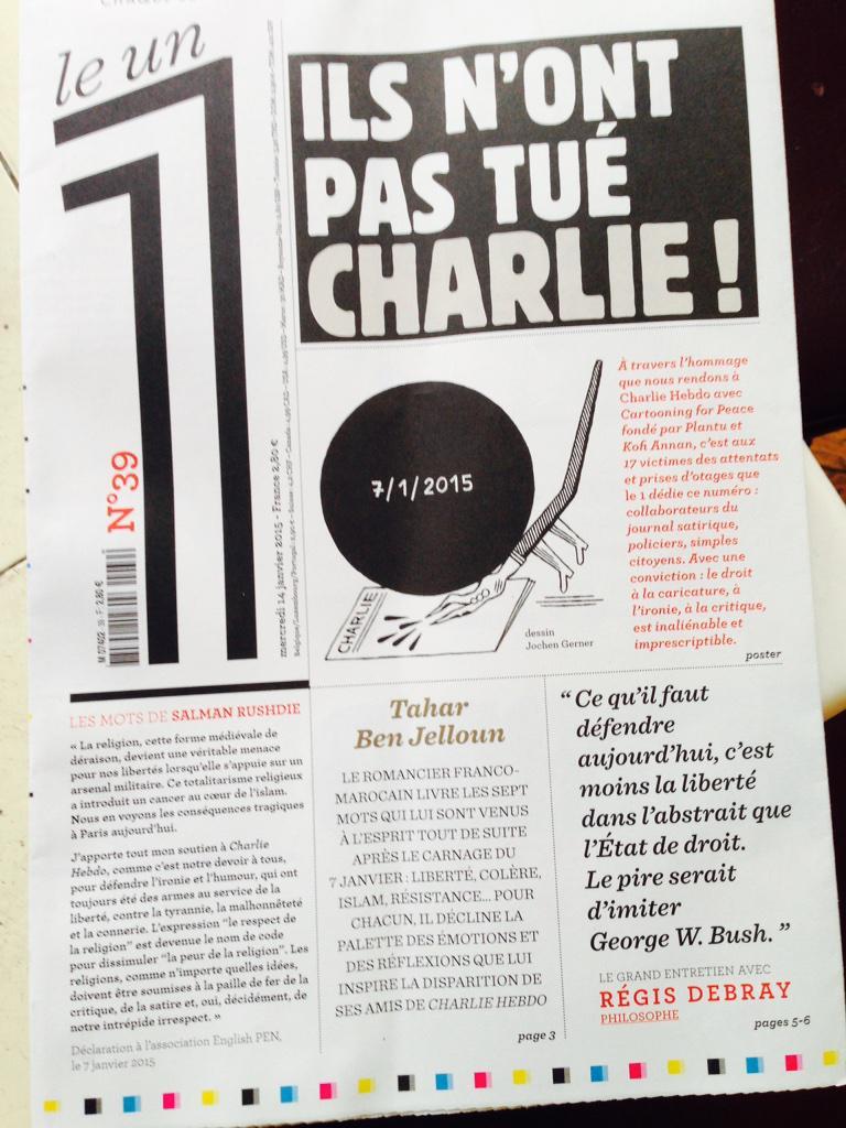 Puisque vous allez au kiosque pour #CharlieHebdo je vous conseille d'acheter aussi @Le1hebdo Belle et utile lecture http://t.co/AKu3bCLVl6