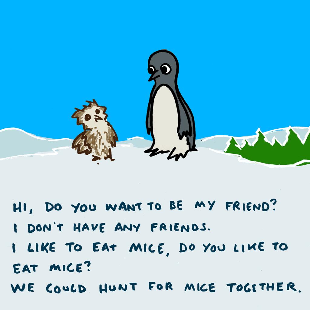 """""""Owl and Penguin"""" http://t.co/NLskT2rHVp http://t.co/8pmELz9dsK"""