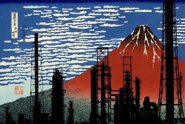 「電柱が消えたら景色がいいで大賞」に関しては、その富嶽三十六景+電柱がすばらしかったので、かつてこういうジャンクション版と工場バージョンを作ったんだけどさ、 http://t.co/kji5aK1JqK