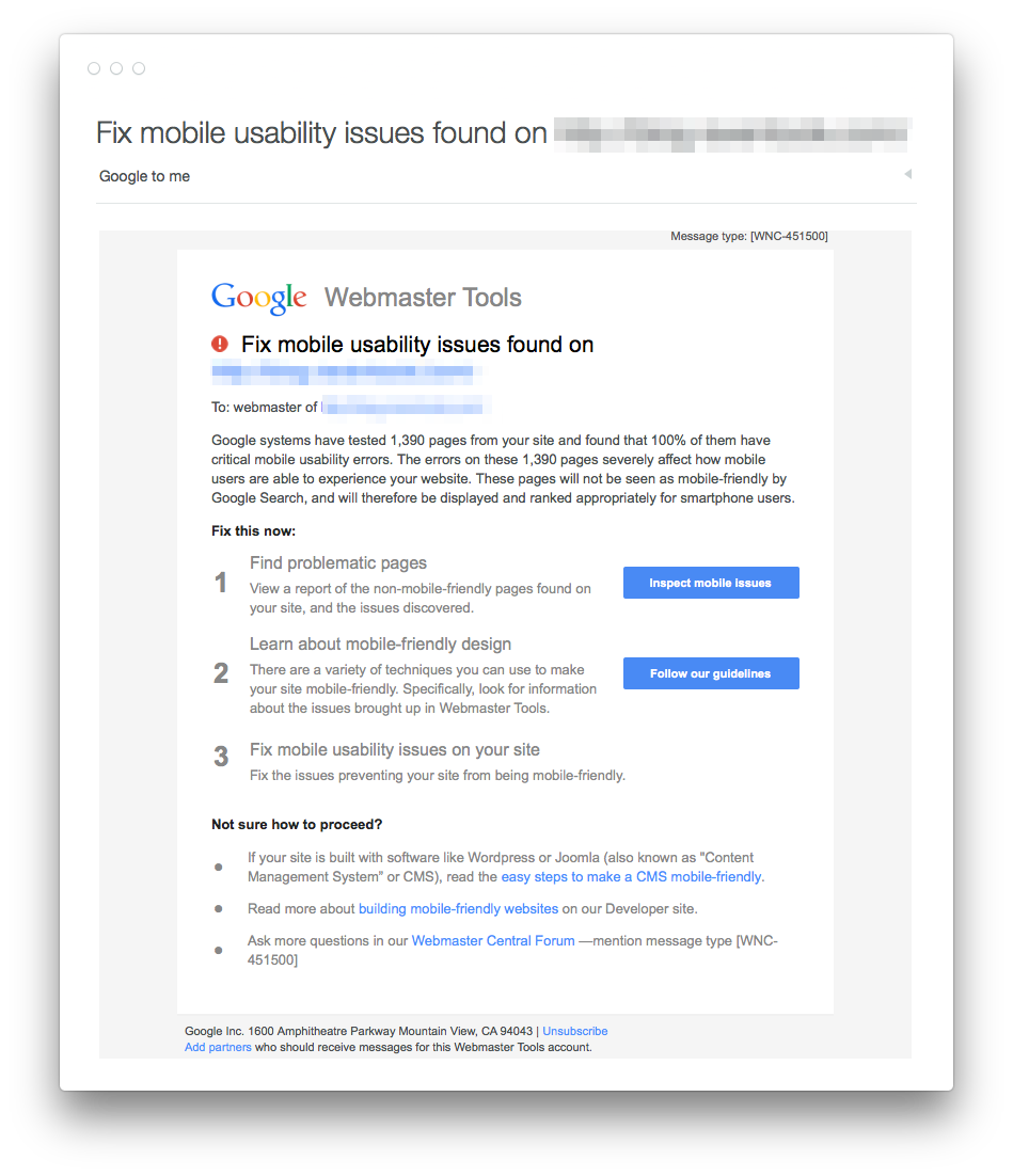 AND…here comes the mobile design warning messages from Google. 2015 will be the year they forced mobile & SSL on you http://t.co/bdT3Yq25jg