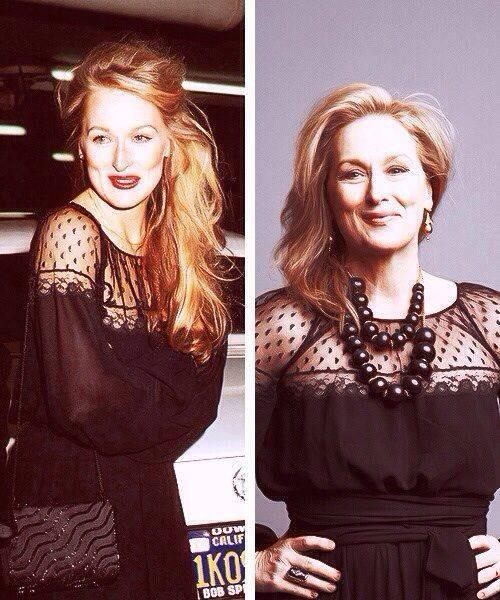 Love this - thirty years later, same dress, same beautiful face #MerylStreep http://t.co/ScRW06Z5A1