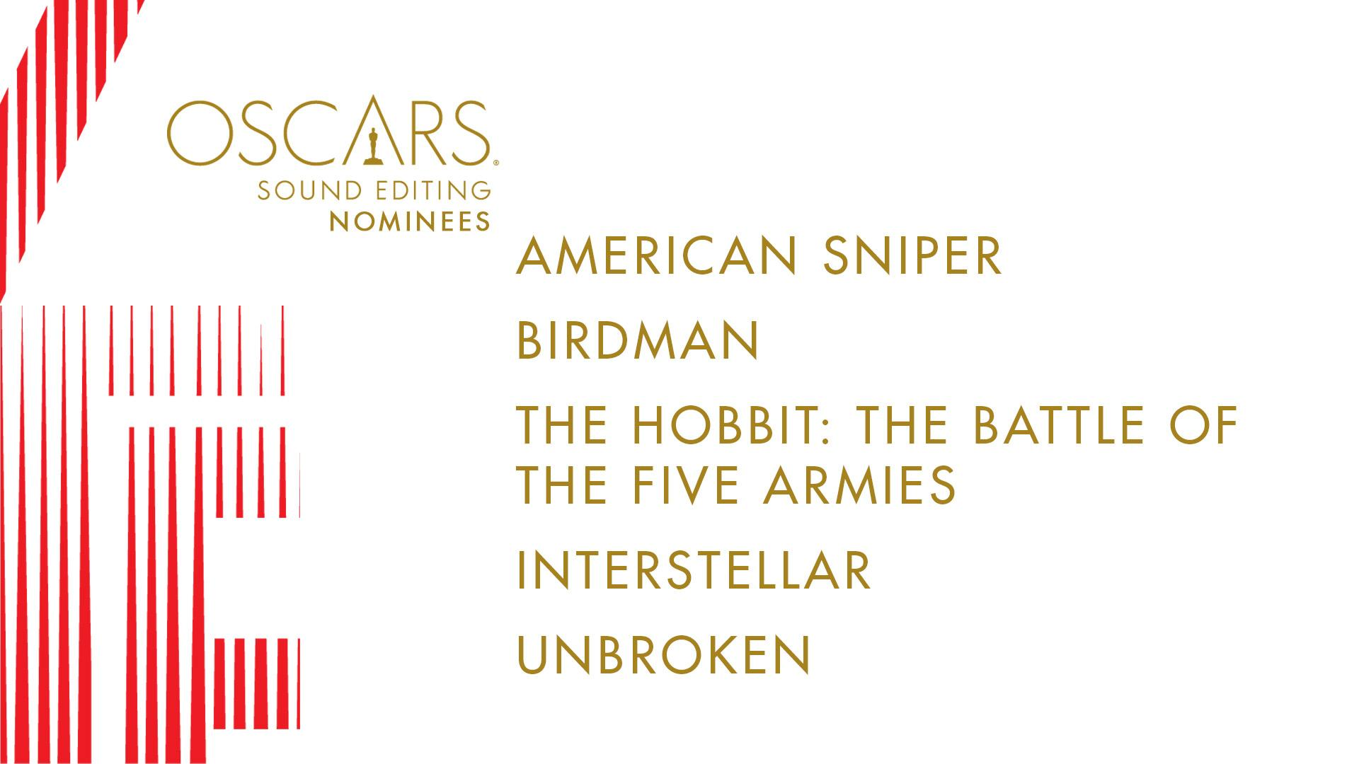 RT @TheAcademy: Congrats to our nominees for Sound Editing… #OscarNoms http://t.co/YslSm0QxTx