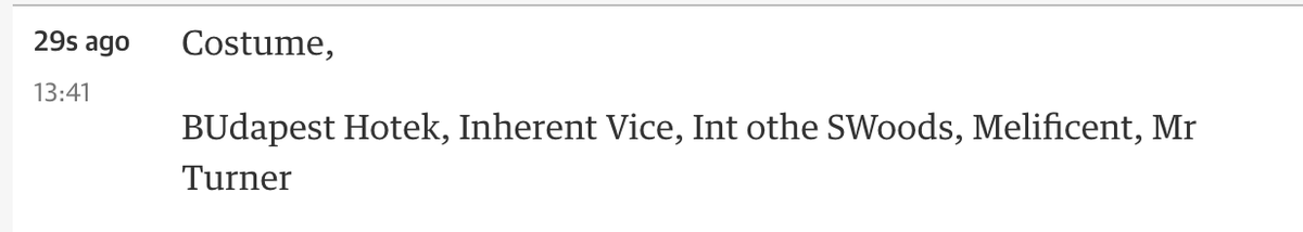 The Guardian are owning the Oscars right now. http://t.co/fA2HXEWkqV