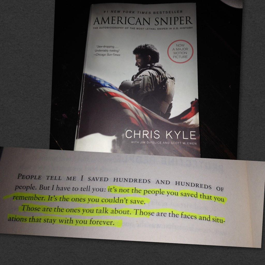 I have officially finished reading #AmericanSniper. What great book of not just a great soldier but a great man. http://t.co/D3t3ry6wZy
