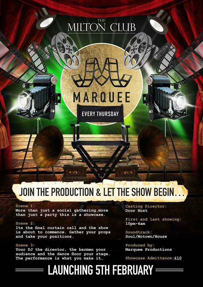 Time to make our BIG return>THURSDAY 5TH FEB our brand new event MARQUEE at THE MILTON CLUB! Absolute game changer! http://t.co/1kHq5xAtlY