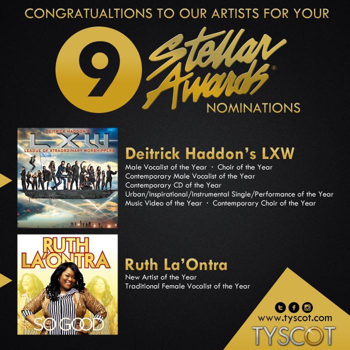 Congratulations @DeitrickHaddon & @LXtraordinaryW on your 7 Nominations for the 2015 Stellar Gospel Music Awards! http://t.co/S1wz5jiLb0