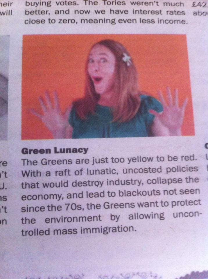 Got a UKIP free paper in mail. Here's the measured way it depicts people who vote for the @TheGreenParty http://t.co/PQ5B6mCfjh