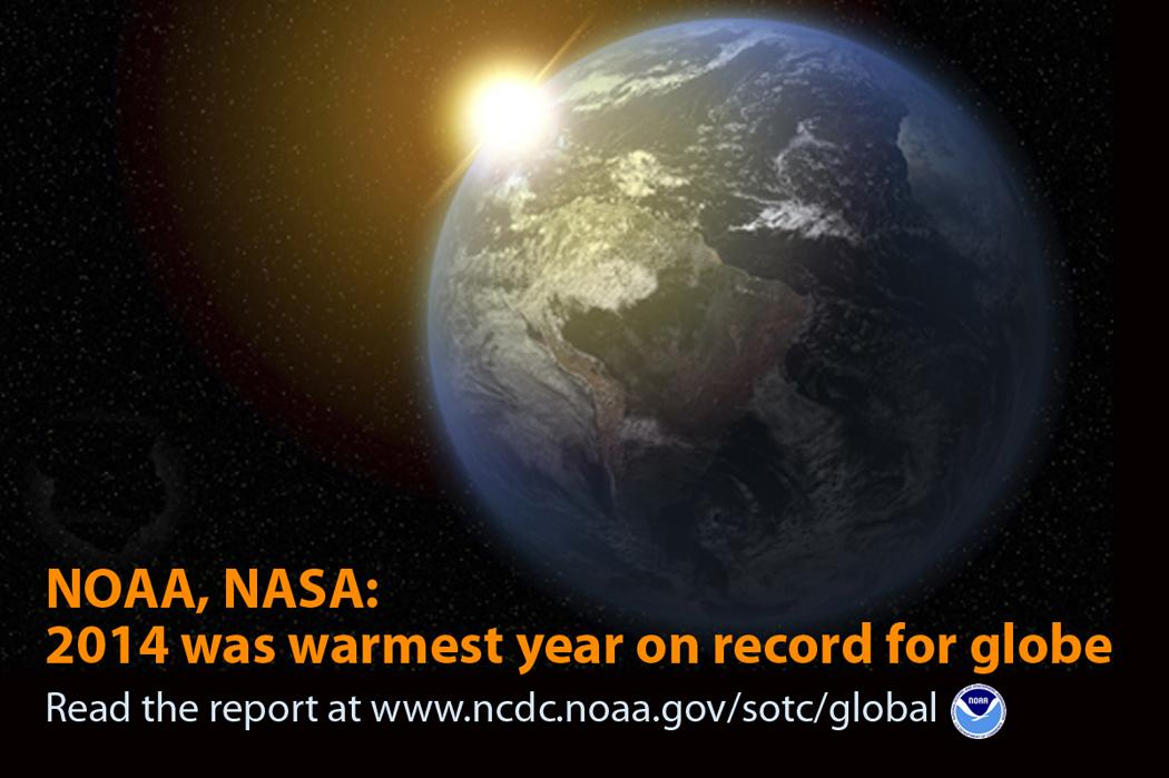 Breaking: It's official -- 2014 was Earth's warmest year on record, per @NOAANCDC & @NASA http://t.co/hHhiuMTDNB http://t.co/5w7OWdRbFP