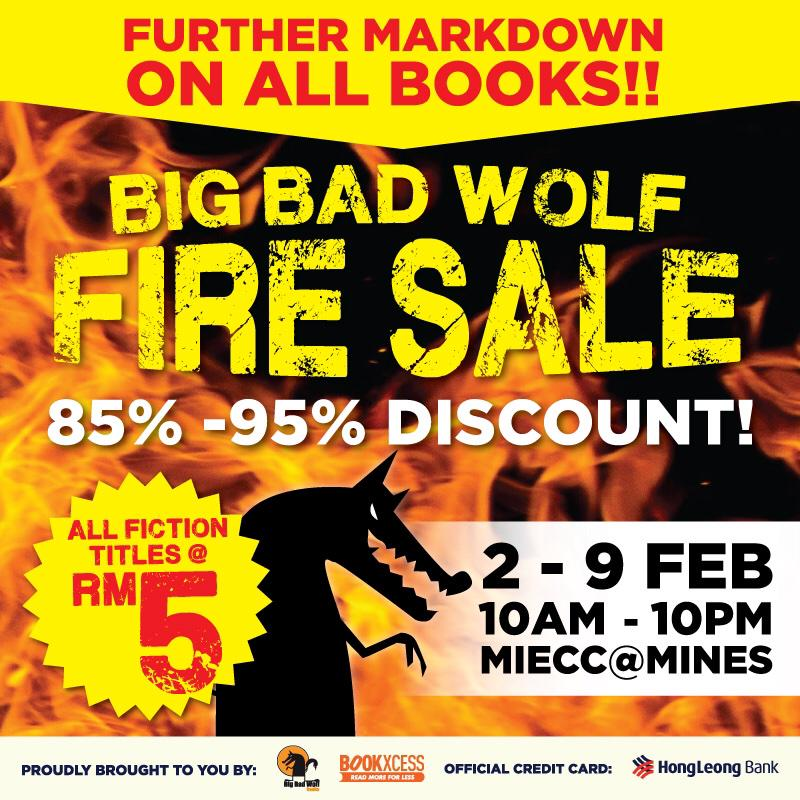 BIG BAD WOLF #FIRESALE IS BACK! Further markdown on ALL books! Happening this February at Mines! Awoooooooo!! http://t.co/JiGPb2vEPW