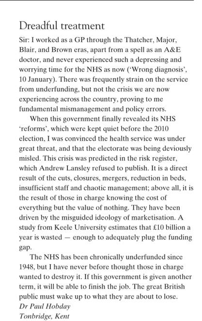 Letter from a GP on the #NHS in tomorrow's @spectator . Serious food for thought. http://t.co/piqWw6tSpJ