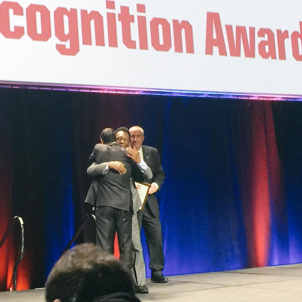 Pele and Landon.  First. Hug. Ever.  #NSCAAPhilly http://t.co/mSpGvI8dv1