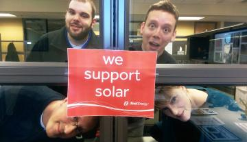 Our employees can barely contain themselves with their love of #solar energy. #ShoutOutforSolar #GoSolar http://t.co/cC20ZOwahE