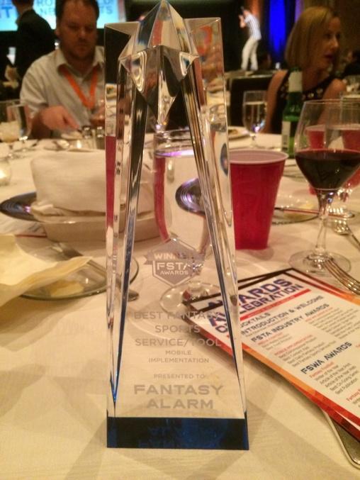 Thank You #FSTA Best Fantasy Sports Service/Tool 2015 @FantasyAlarm http://t.co/RcKThC8ppM