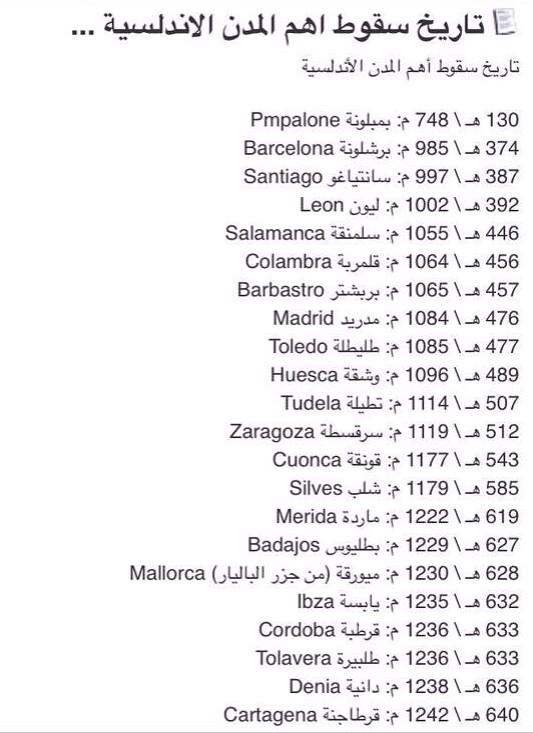 متى سقطت المدن الاسلاميه في الاندلس بدء من بمبلونه ونهايه في سقوط غرناطه  http://t.co/84D7xx5UuS