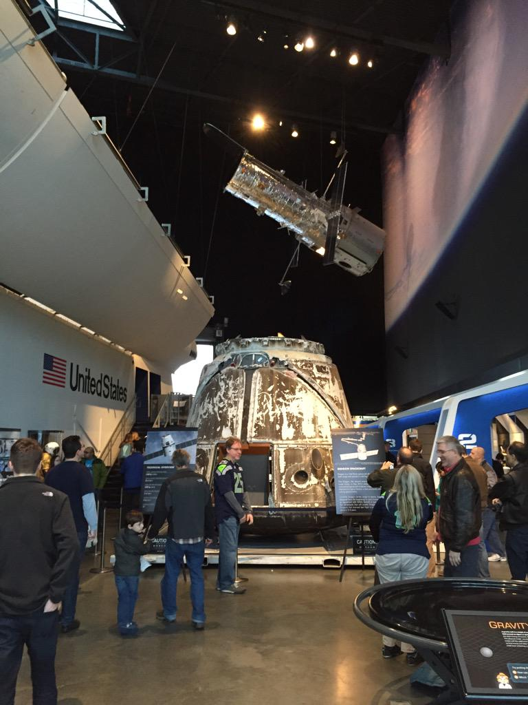 Dragon is big! Here through Monday. Welcome SpaceX to Seattle! http://t.co/13BBqlRW7g