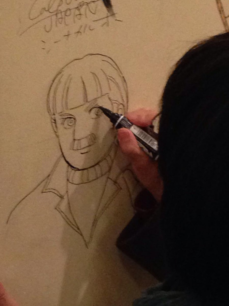 昨日、青池保子先生にミュージアムカフェにも「エロイカより愛をこめて」のボーナムくんを描いていただいてるマン。壁の何処に描いていただけたかは、来てのお楽しみのだマン♡ http://t.co/iN2bViL8ek http://t.co/xooteLeX4o