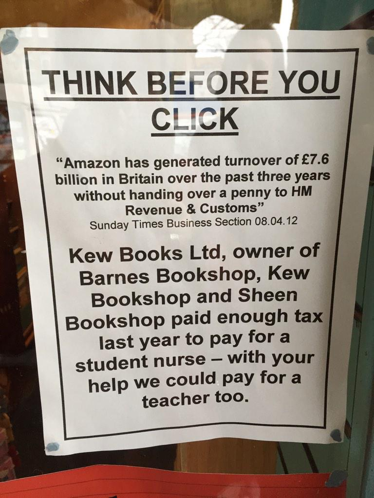Inspiring poster for local London bookshop @kewbookshop (via @PaulWaugh, H/t @eilidhmac): THINK BEFORE YOU CLICK! http://t.co/BdP4Gk7VAt