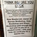 Love this sign in @kewbookshop - shop local, avoid tax dodgers! #Amazonfree @bex_hay http://t.co/um9qzB9kx3