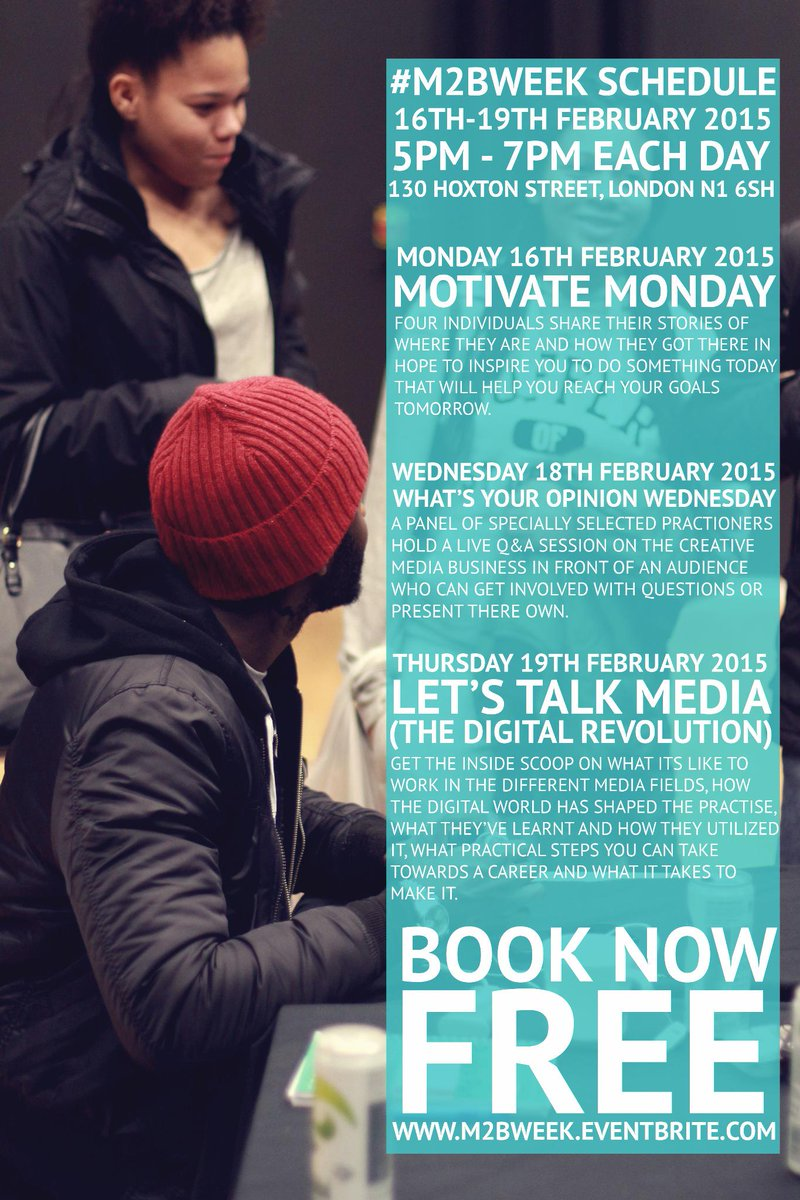 Interested in the Creative Media Industry? Speakers from 1xtra, KISS Fm, Bauer, Grazia, LinkUPTV + more #M2BWEEK http://t.co/cEPF74eZfD