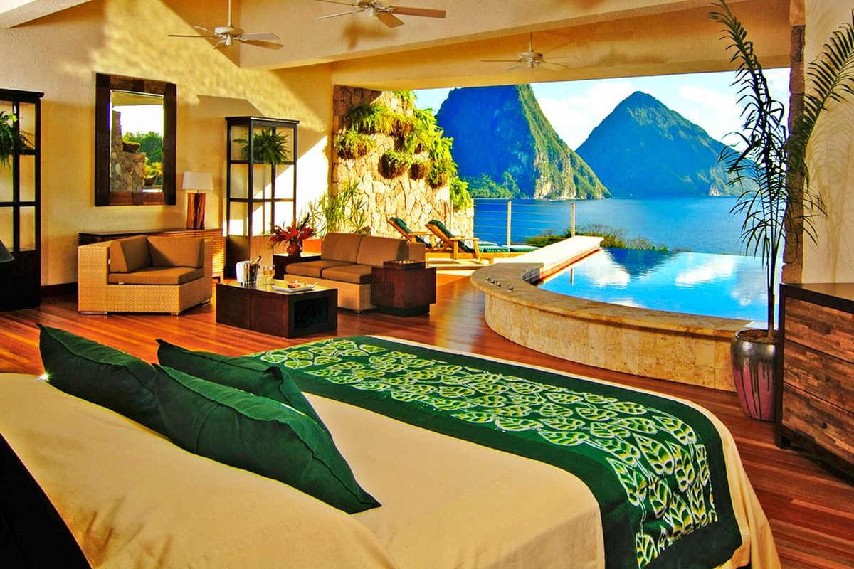 Dramatic peaks, volcanic beaches and 5 fabulous hotels in St Lucia