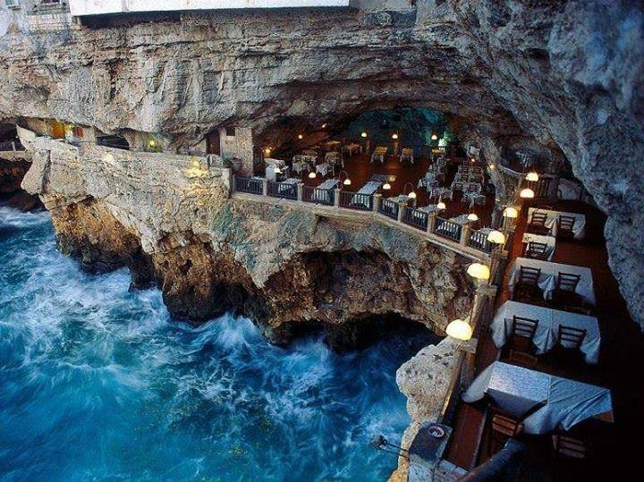 A restaurant in an unexpected place. Hotel Ristorante Grotta Palazzese in Polignano a Mare, Italy. #ttot http://t.co/sjtFZ31P6B