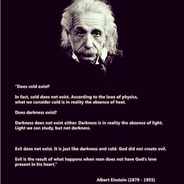 Albert Einstein's theory on the existence of evil. http://t.co/pSyEC18WSM