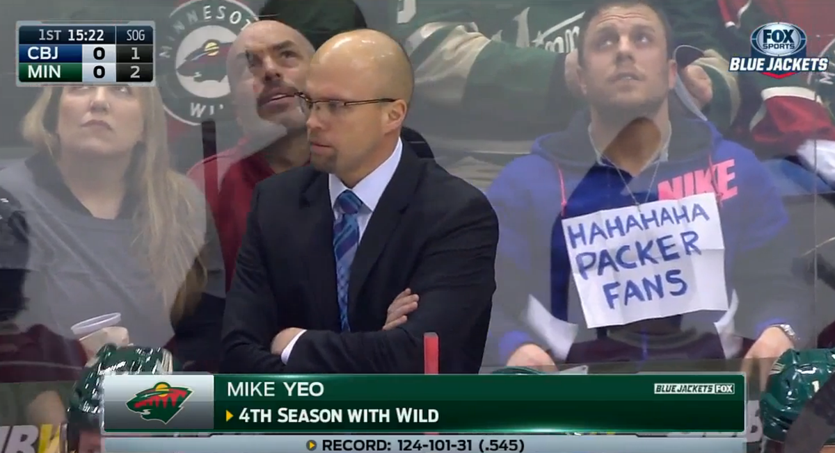 Nice troll job by a (presumed Vikings) fan at tonight's #mnwild game. http://t.co/YKhs0OdVvq