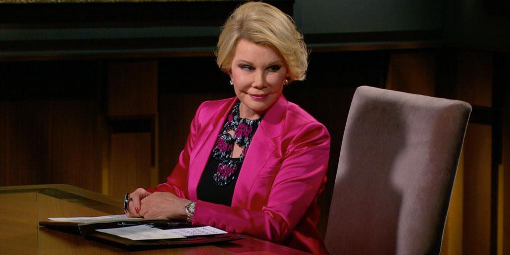 One more round of applause for the amazing Joan Rivers! #RememberingJoan #CelebApprentice http://t.co/oeYV4nYpQr