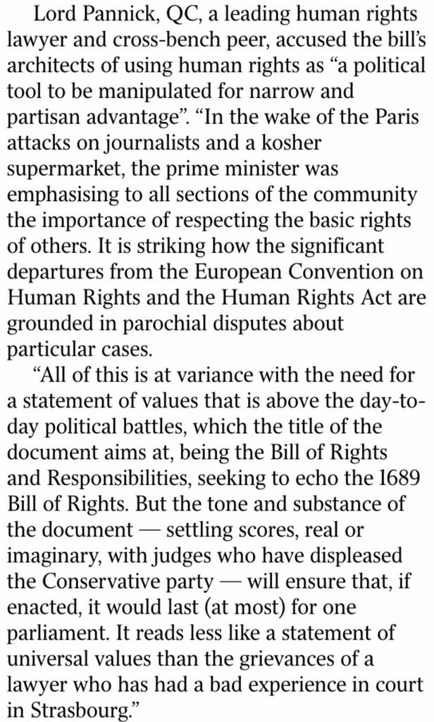 Absolutely brilliant comment by Lord Pannick to The Times on the Tory human rights plans. Nails it. http://t.co/B9zKKOS4FT