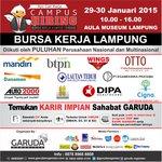 AYO cari kerja di Campus Hiring Lampung di Aula Museum Lampung 29-30 Januari INFO Pin:260E8D8F | @garudaorganizer http://t.co/u1mjwCme97