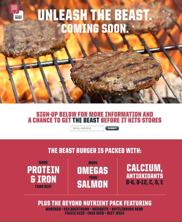 This is going to be a #gamechanger for vegetarians and omnivores alike! @BeyondMeat 's #beastburger http://t.co/2xF8LvgEx3