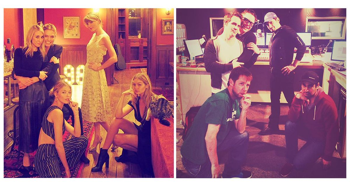 Bobby Bones (@mrBobbyBones): so this is how @taylorswift13 hangs with friends. This is how we hang out with friends i.e. @BradPaisley http://t.co/viFAFumxyr