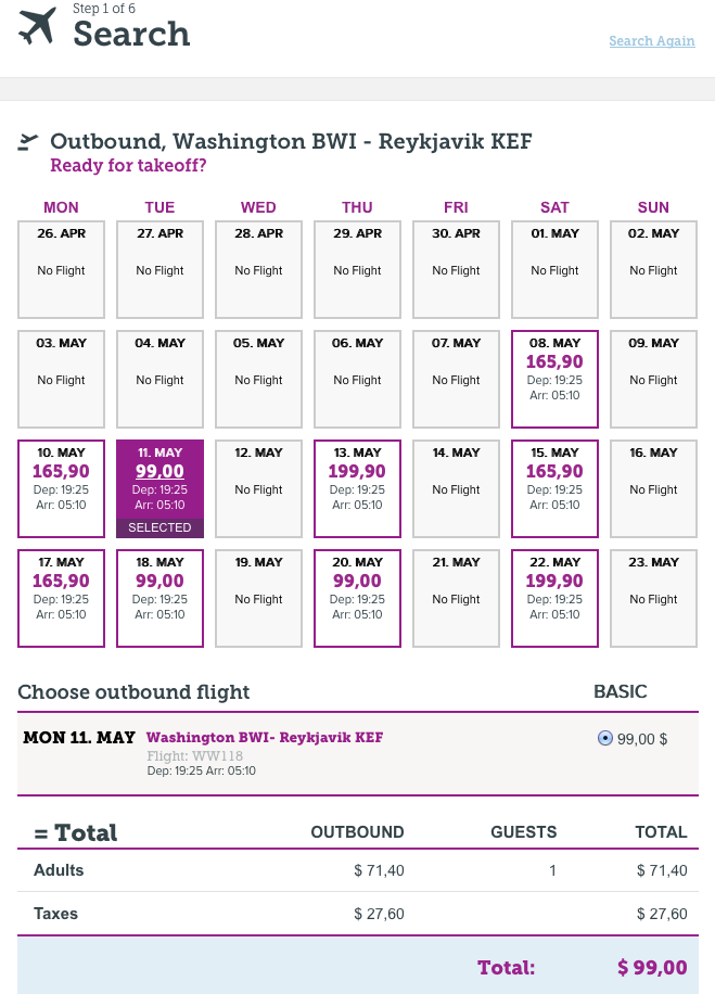 RT @airfarewatchdog: New May dates for BWI-Iceland at $99 outbound (higher on return)