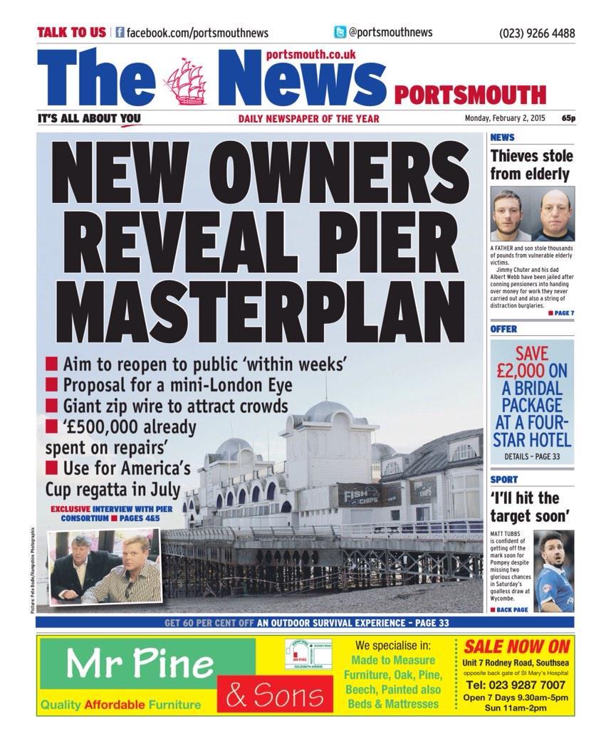 RT @PortsmthNewsHub: Today's @portsmouthnews: New Owners Reveal Pier Masterplan #Portsmouth #Southsea http://t.co/atlrnbwb9o
