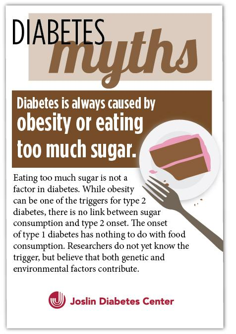 #Diabetes Myths - diabetes is always caused by #obesity or eating too much #sugar http://t.co/wm3qfOGyA9 #MythMonday http://t.co/eycZpZz5SY