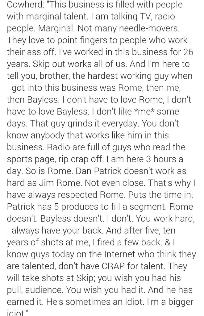 Colin Cowherd on Skip Bayless, Jim Rome, and Dan Patrick. Maaan! http://t.co/kRyCQFcNwI