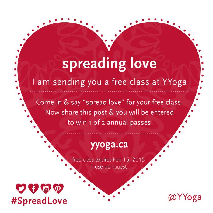 #Free #yoga for all – just say #SpreadLove to redeem! Share this pic (tag @yyoga #spreadlove) to win an annual pass http://t.co/LulZgRFt2J