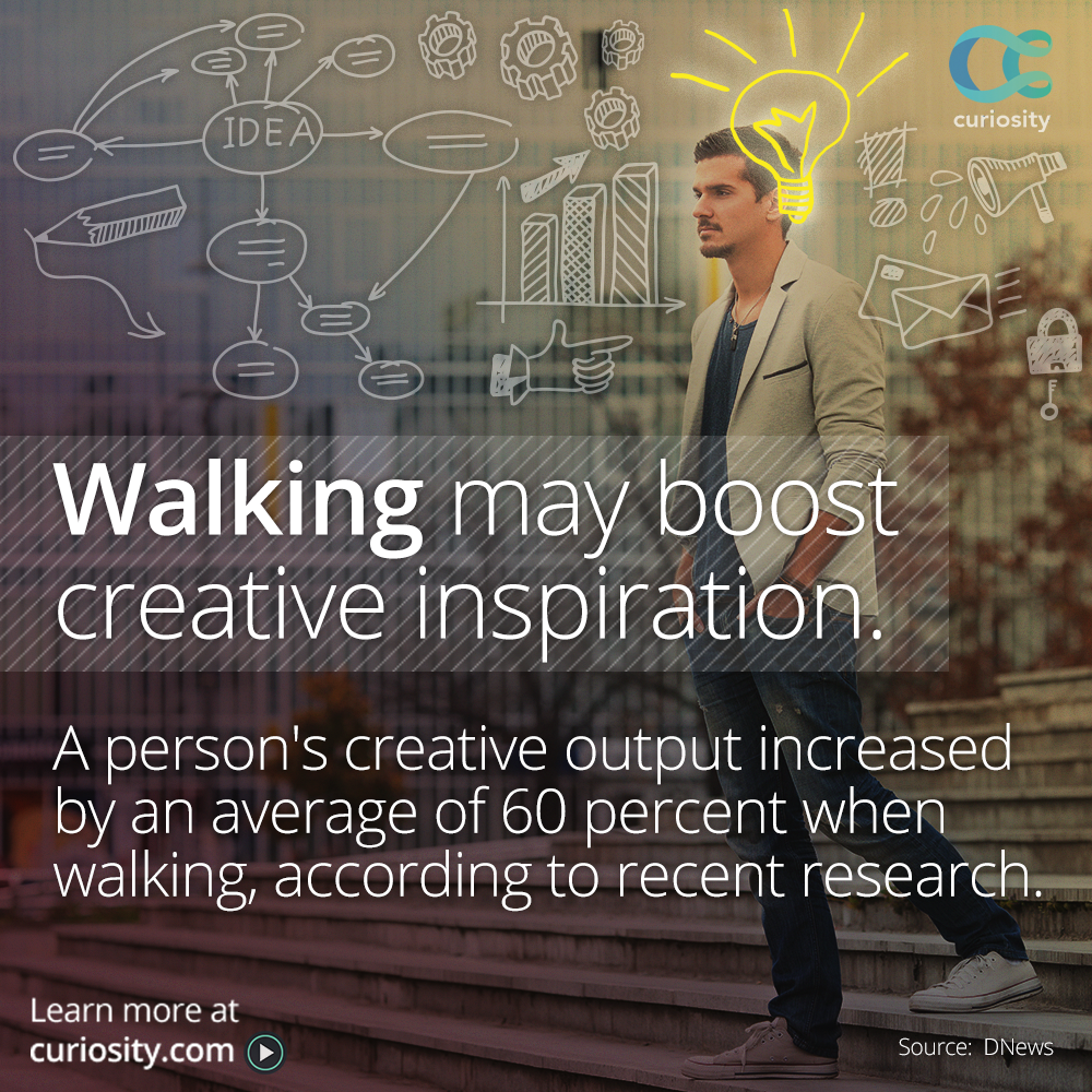 Can walking regularly help spark your inner creativity? Harness your brain power via @Dnews: https://t.co/QWzGbtFdqQ http://t.co/BF0gFJVrZK