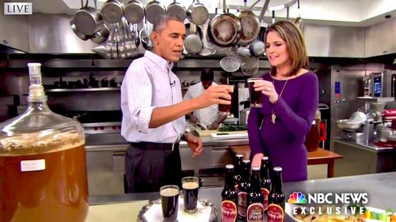 The US President's homebrewing operation was televised yesterday before the Superbowl (American football) http://t.co/gBXWFfibEl
