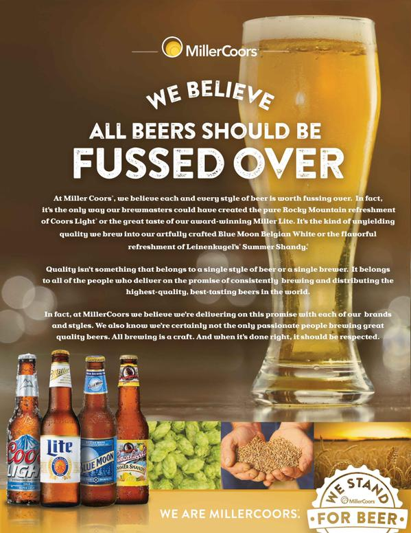 After @Budweiser made a stand for its lager during the Super Bowl, @MillerCoors has released its take on #beer http://t.co/GuebVu5iKk