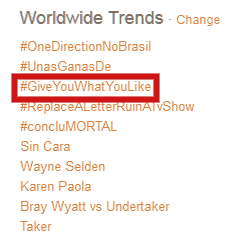 #GiveYouWhatYouLike is now #3 on worldwide trends! SLAY QUEEN! http://t.co/5okYWEjr3I