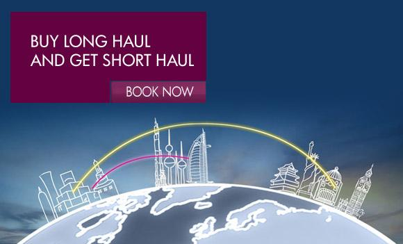 Book a long-haul flight from Qatar and you'll receive a bonus short-haul flight.