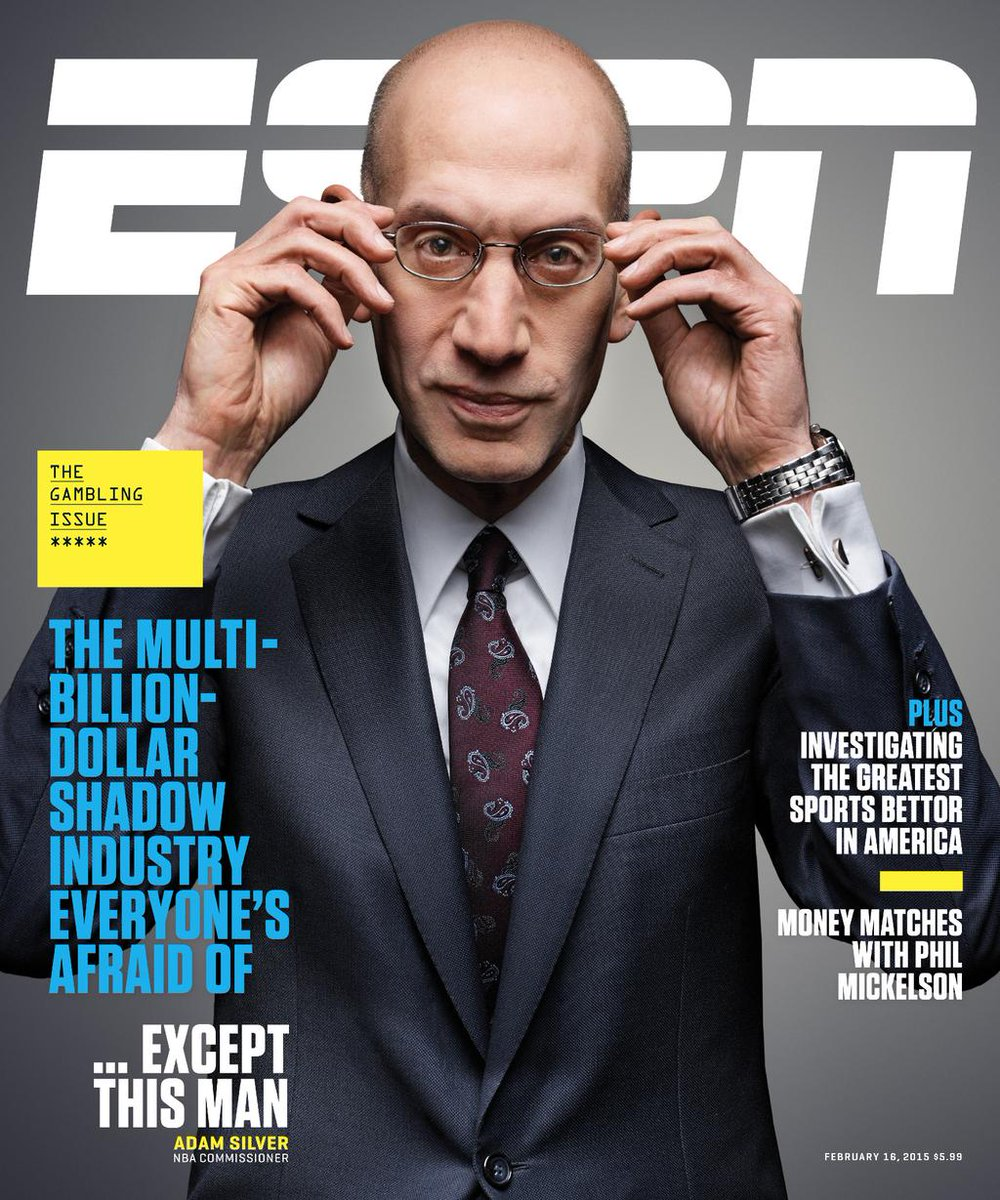 everyone's afraid of sports betting—except adam silver. to prove it, he sat for the cover of @espnmag's new issue! http://t.co/h1pWrJjmXB