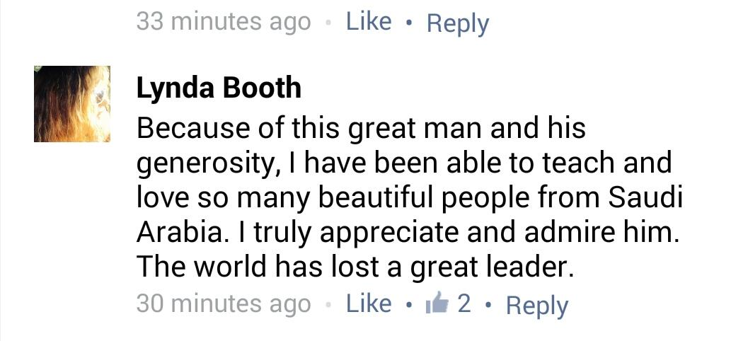 غاده غنيم الغنيم  (@GhadahAlghunaim): #KingAbdullah  one of many comments @saudiinusa facebook page received today