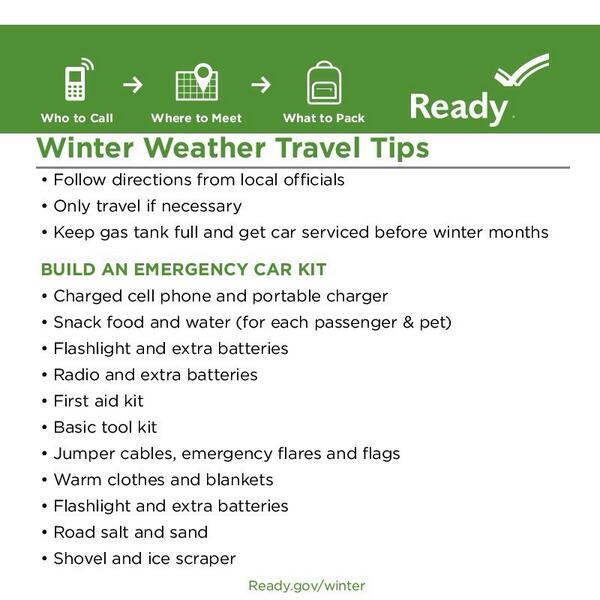 Stay off roads during #WinterStorms. If you must travel be prepared with these tips: http://t.co/clbtDiQNfe