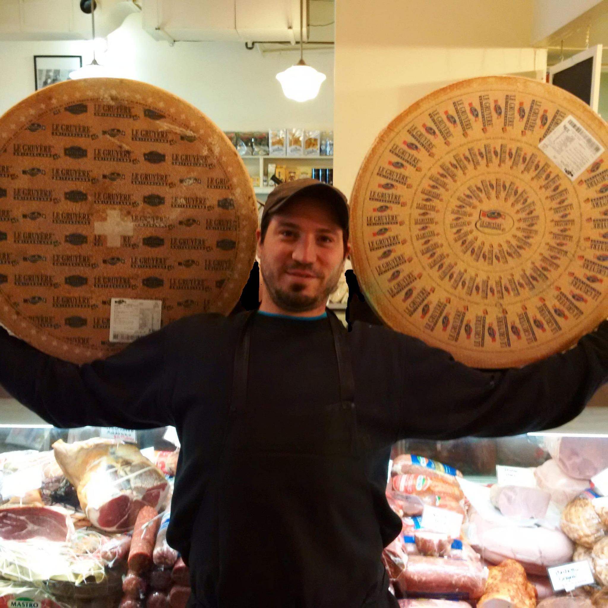 Our cheese monger Micky doing his morning work out! #cheese #ottawa @SwissCheeseMktg http://t.co/zOjjGnH84f